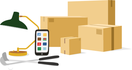 grafisk illustration med flera paket och prylar som kan skickas